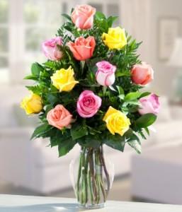 Mixed Rose Arrangement in Vase.