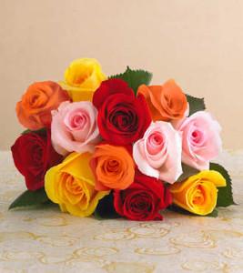 mixed dozen rose bouquet